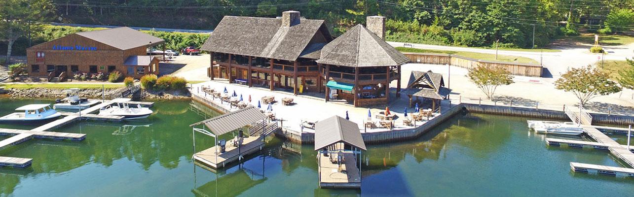 Aerial view of LaPrade's Marina on Lake Burton