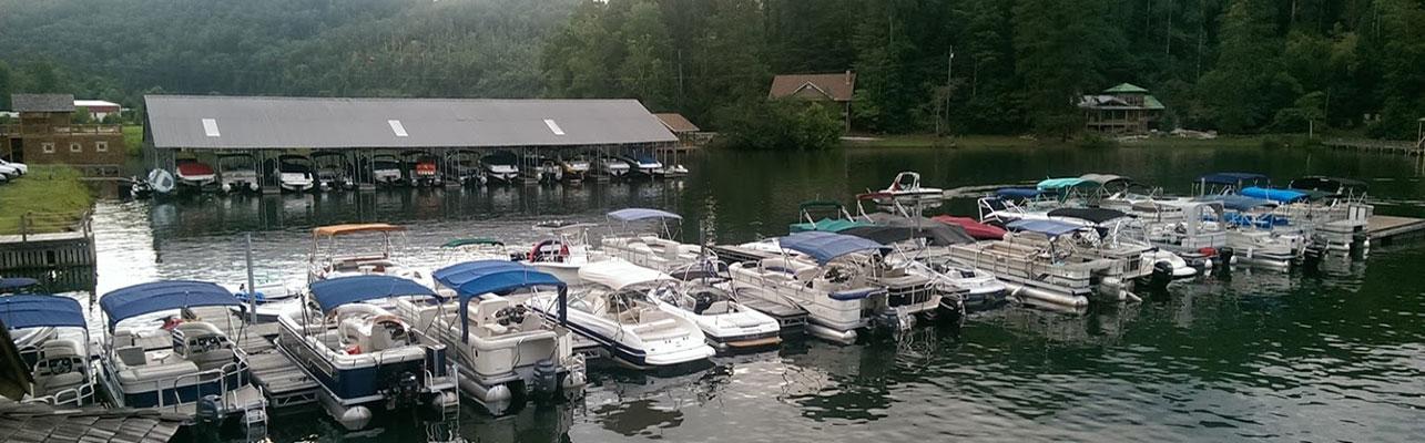 Boats docked at LaPrade's on Lake Burton