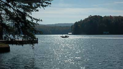 fishing boat on Lake Burton